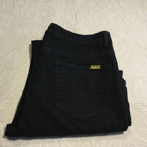 Women's Black Bill Blass Sz.8 Linear Fit Bootcut Denim Pants Cotton