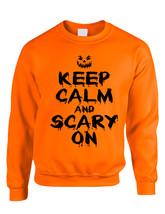 Adult Crewneck Keep Calm And Scary On Halloween Costume Idea - $17.94+