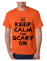 Men's T Shirt Keep Calm And Scary On Cool Halloween Costume Tee - $10.94+