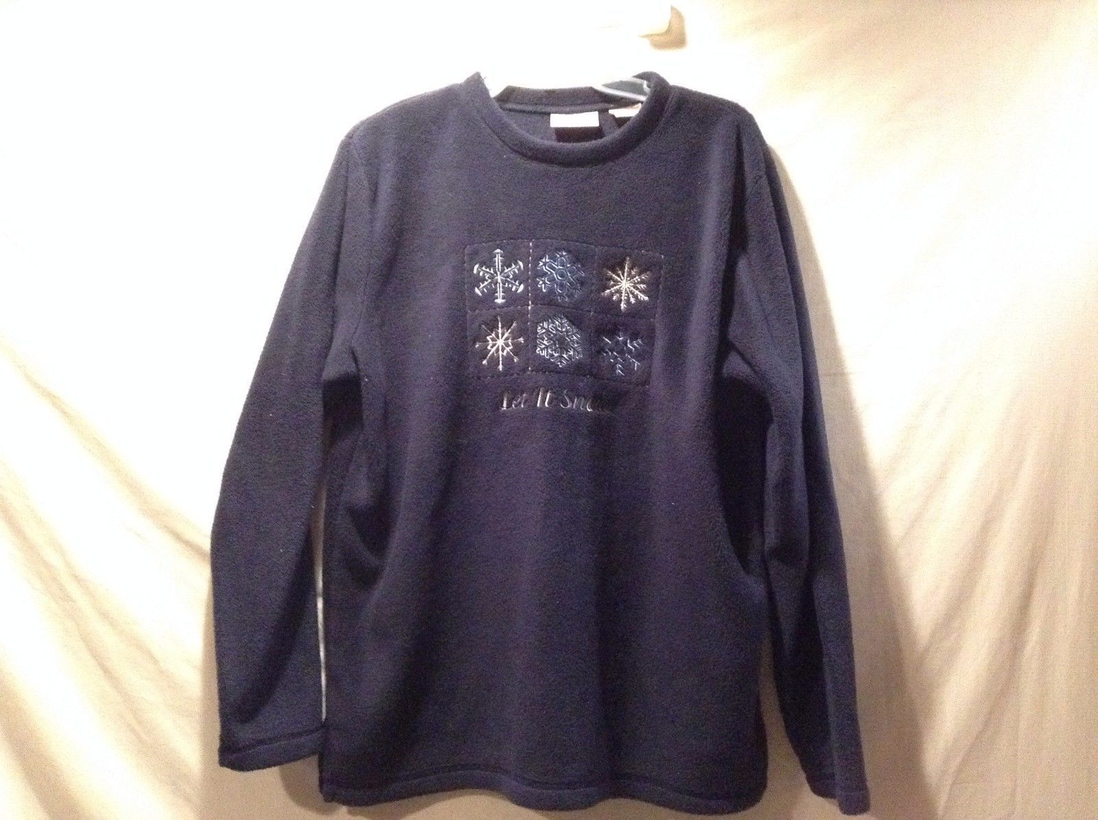 Great Condition Basic Editions Holiday Sweater Snow Flake Large Let It Snow