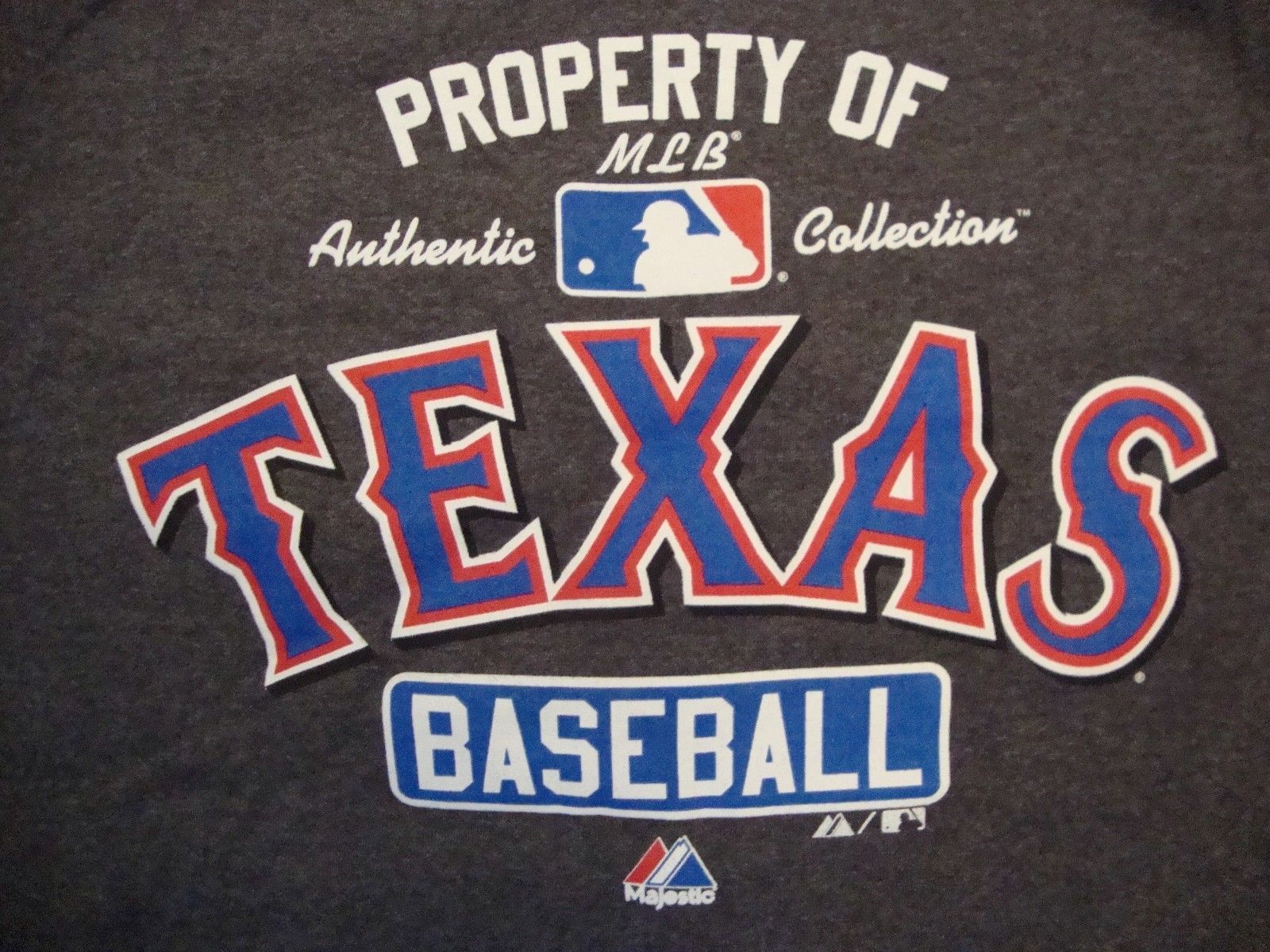 MLB Texas Rangers Baseball Authentic Sportswear Fan Apparel Gray T Shirt Size M