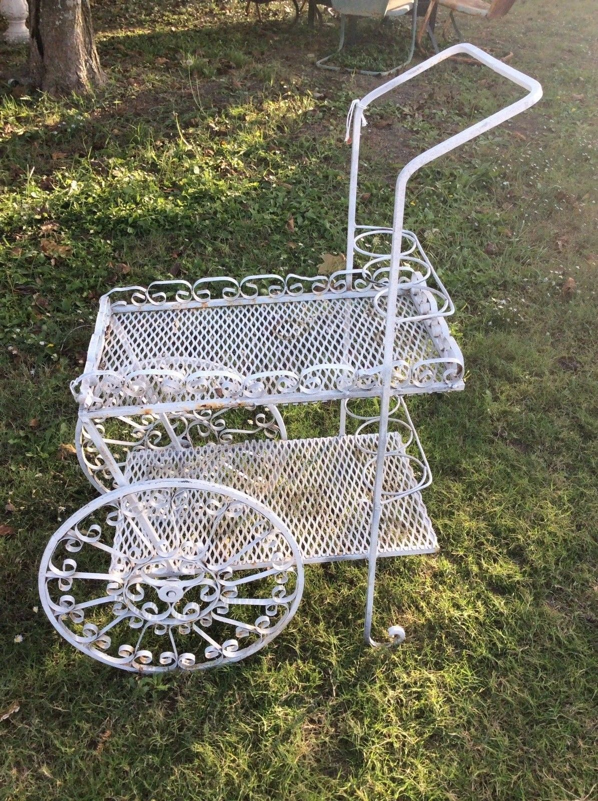Vintage mid century Wrought Iron Metal Garden Plant Stand Flower Cart Tea Bar