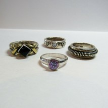 4 Piece Lot Sterling Silver Rings QVC Diamonique Love You Spiral Band 31... - $54.45