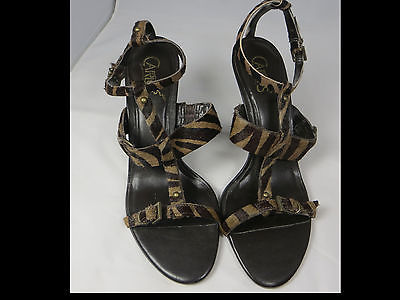 CARLOS SANTANA Tribal Strappy Sandal Heels Brown Calf Hair Leather Zebra 8 B HTF