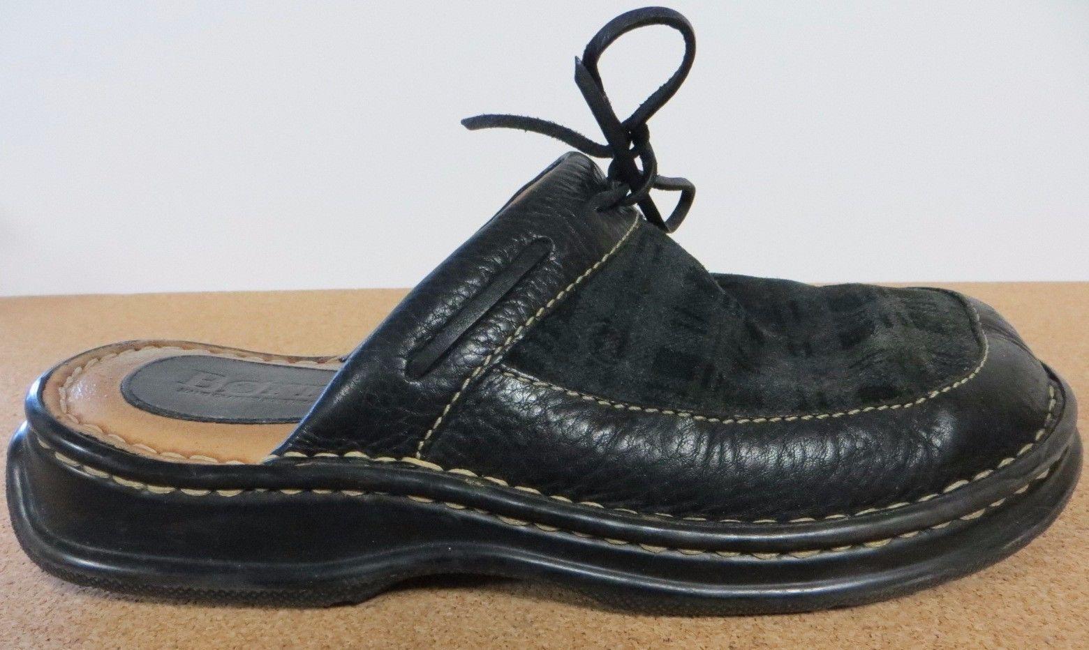 BORN Clogs Black Green Plaid Leather Tie Mules Womens Shoes US 8 EUR 39