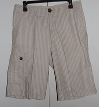 Liz Claiborne Sloane White Tan Striped Burmuda Shorts Size 10 - $15.99