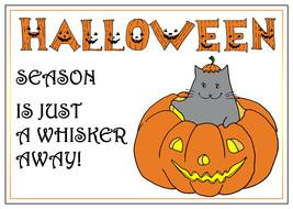 Halloween Card: Cute Kitty in a Pumpkin - $5.00