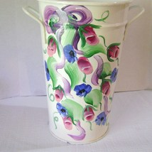 Cottage Chic Handpainted Metal Vase Signed - $16.00