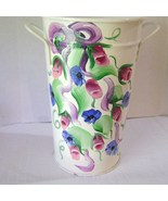 Cottage Chic Handpainted Metal Vase Signed - $12.00