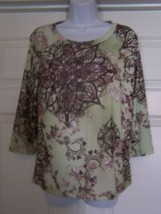 White Stag Women's Knit Top Multi-Color Small (4-6) Floral Print 3/4 Sle... - $12.99