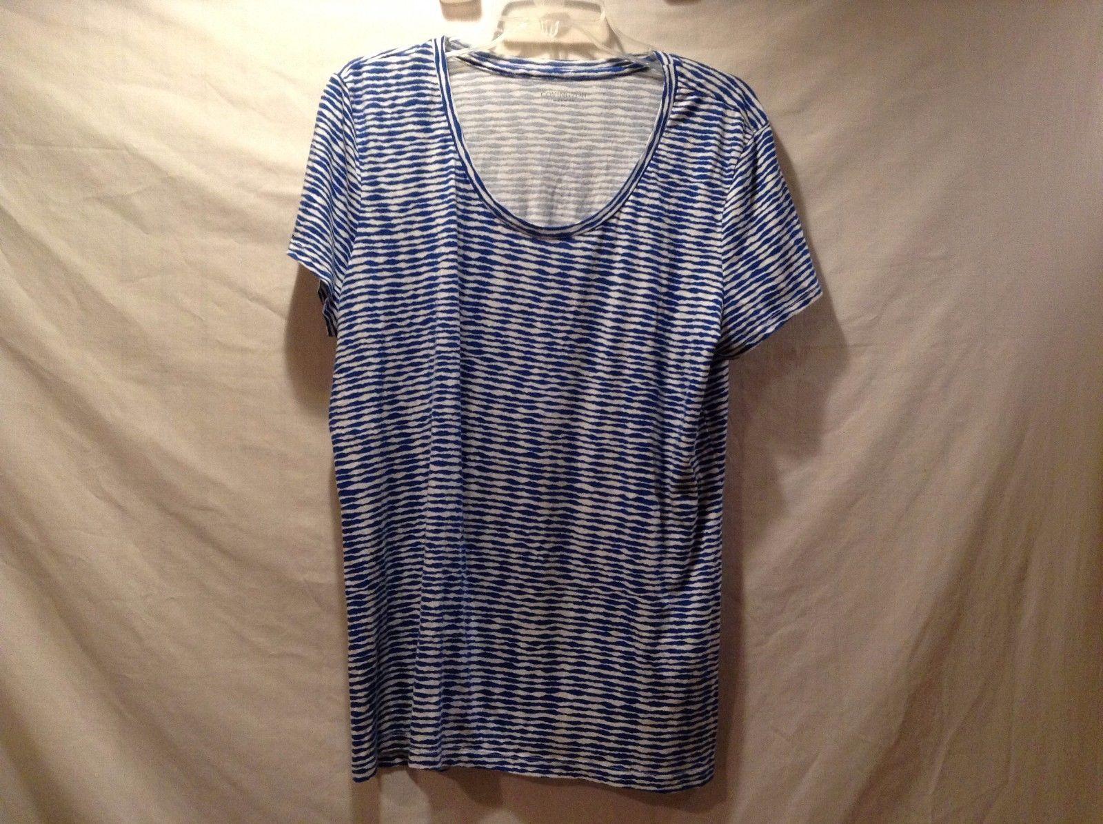 Great Covington XL Cotton Blend Blue White Horizontal Jagged Line Shirt