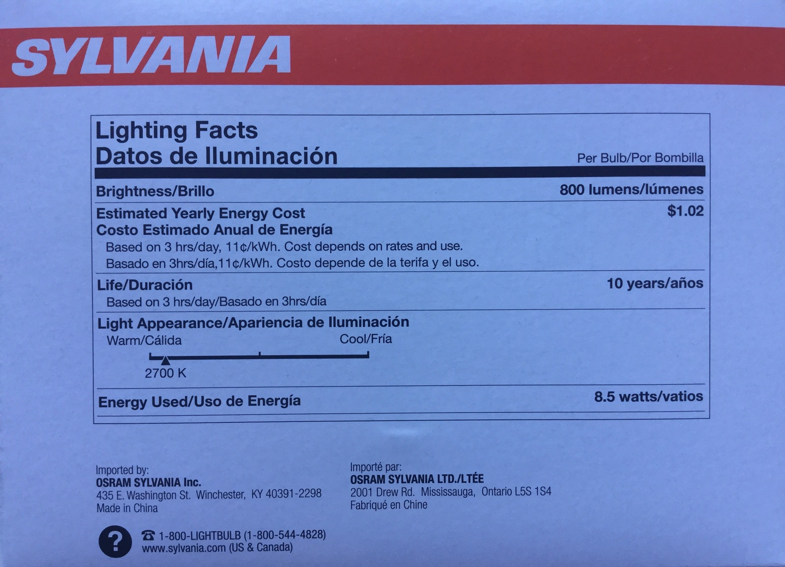 3 Bulbs SYLVANIA LED Soft White 60W Equivalent Light Bulb A19 uses only 9W