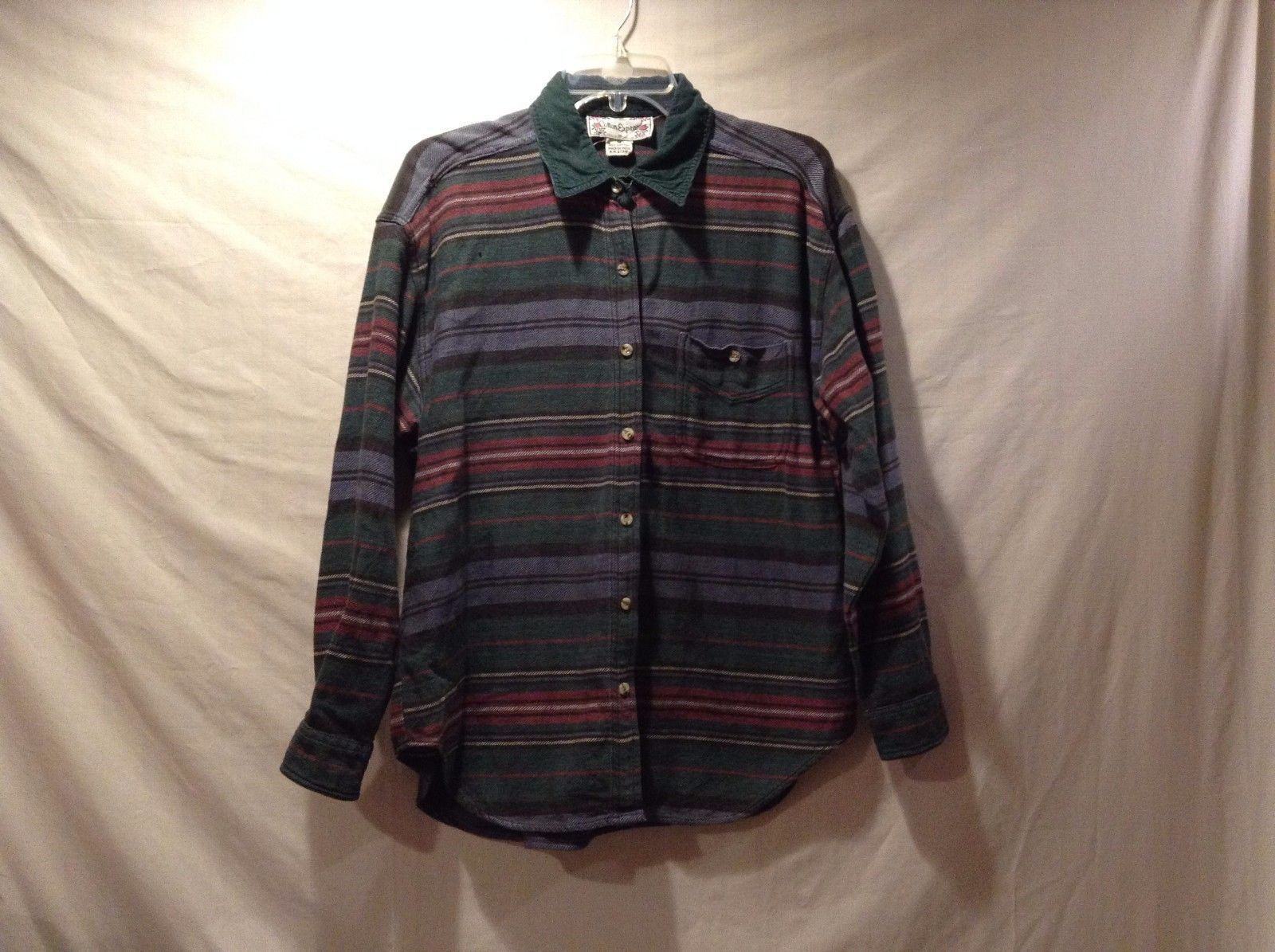 Great Condition Cotton Green Red Yellow Blue Black White Horizontal Stripe Shirt