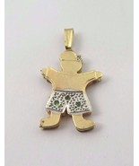 14k Two Tone Gold Double Plated Baby Boy Charm With Emerald May Birthsto... - $238.43