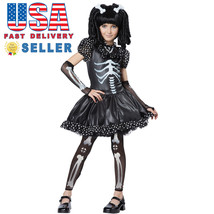 California Costume Skeleton Girl Kid Child Halloween Party Fun Cute Blac... - $30.00