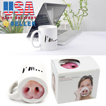Fashion I'm Piggy Coffee Cup Cold Coffee Mug Holder Pig Nose Creative Ma... - £6.47 GBP