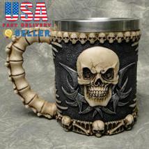 Skull & Bone 3D Skeleton Tankard Mug Cup Coffee Beer Pirate Gothic Hallo... - £19.03 GBP