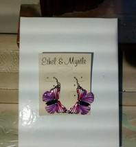 Ethel & Myrtle Purple & Pink Butterfly Drop/Dangle Earrings - $9.50