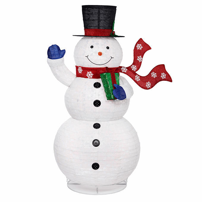 Christmas Pop-Up Snowman With 300 LED Lights, Collapsible, Metal Ground Stakes - Ornaments