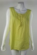 Talbots Women Plus 16W Yellow Half Button Down Side Zip Sleeveless Blouse EUC - $13.09