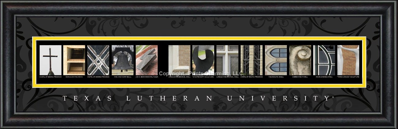 Texas Lutheran University 8 x 24 Framed Campus Letter Art Print