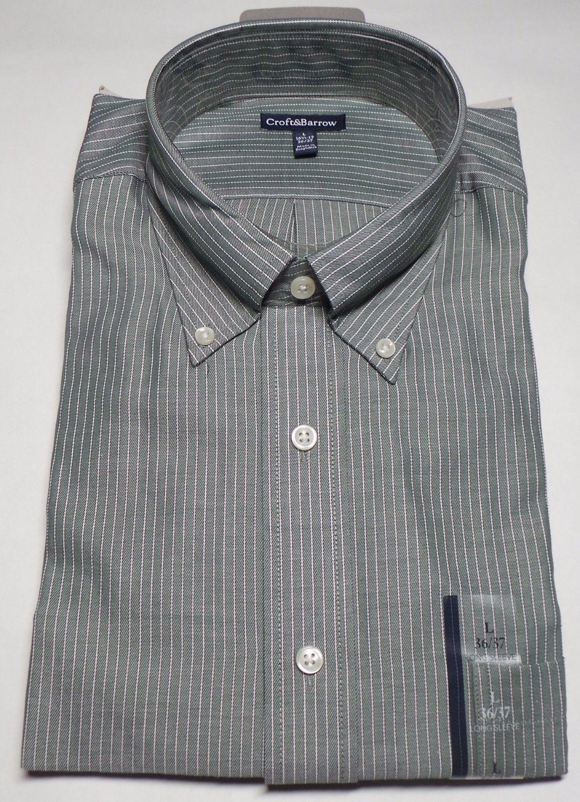 Croft & Barrow Full Sleeves Classic Fit  Mens Dress Shirt Size L 36/37