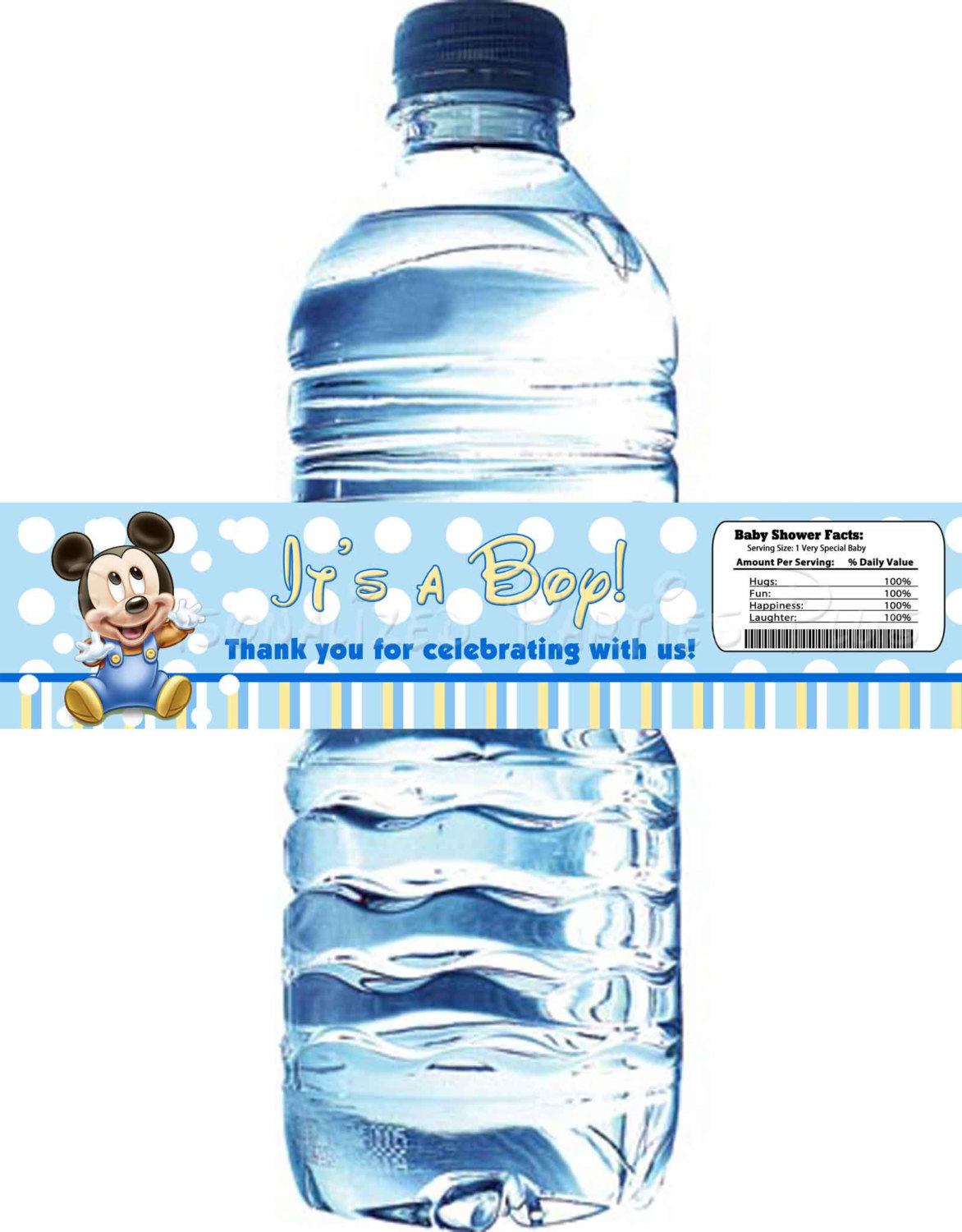 Mickey Mouse baby shower water bottle labels: Digital and available Instantantly