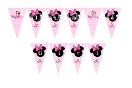 Minnie Mouse baby shower banner that says Its a girl: DIY in chevron print - $5.00