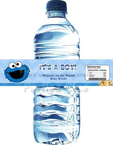 Cookie Monster water bottle labels | Cookie Monster baby shower water bottle lab