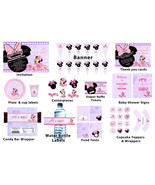 Personalized Minnie Mouse baby shower package: banner, cupcake toppers, ... - $19.99