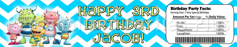 Henry Hugglemonster birthday party pack: banner, cupcake toppers, water bottle l