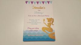Mermaid invitations | Mermaid birthday invites | Gold mermaid invitation... - $8.99