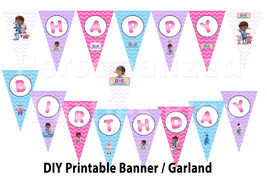 Doc McStuffin Birthday banner / garland: DIY in chevron print - $5.00