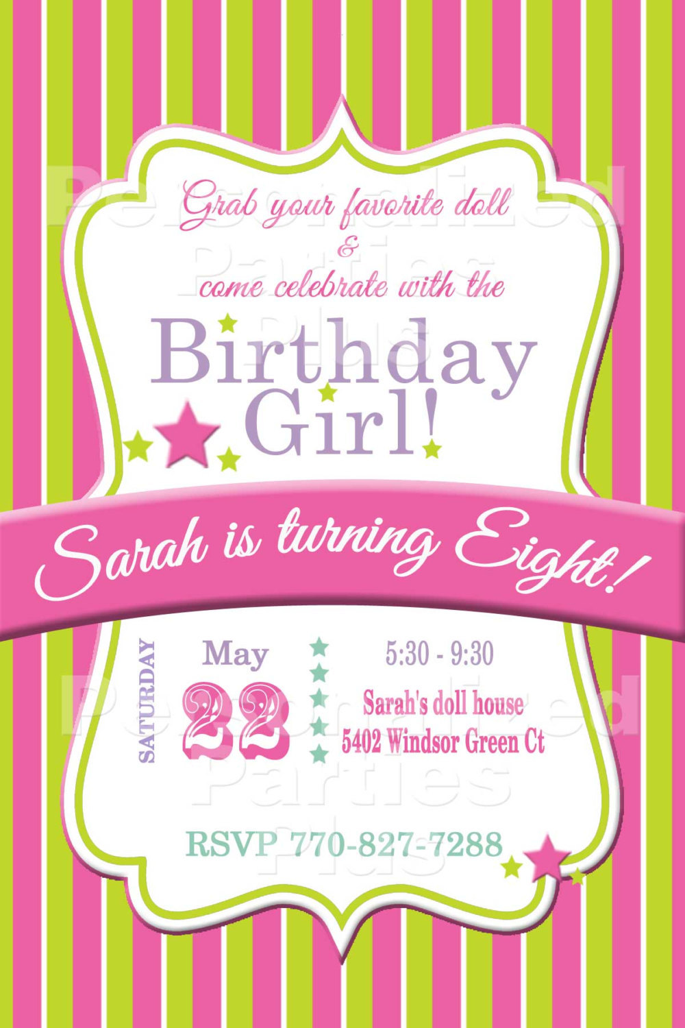 SALE: American Girl Doll themed birthay party pack with invitation, cupcake topp