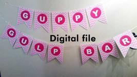 Digital Guppy Gulp Bar banner in pink chevron print - $5.00
