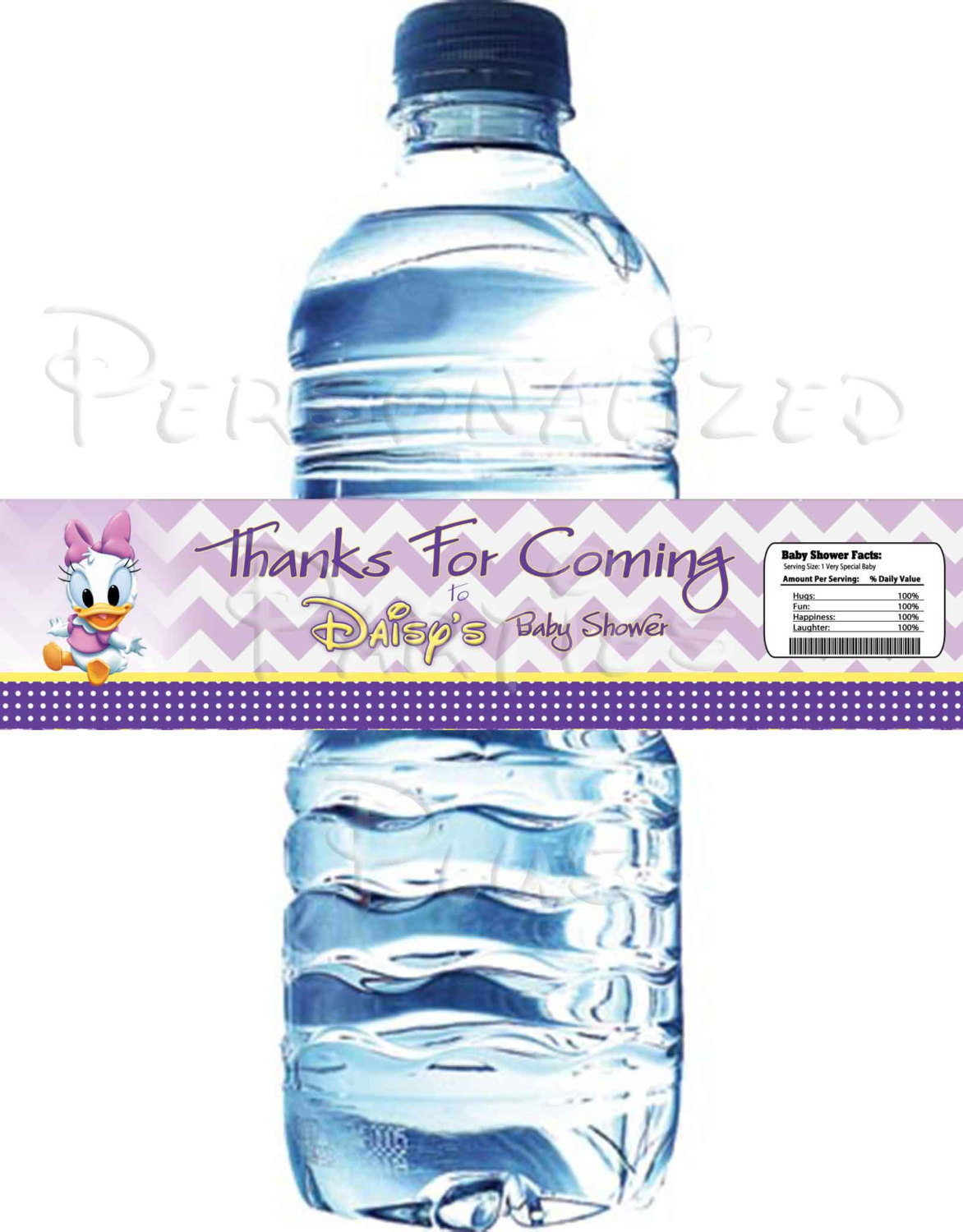 Daisy Duck water bottle labels for baby showers