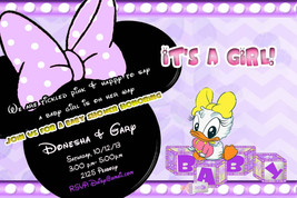 Daisy Duck Baby Shower Invitation in lavender and yellow - $9.99