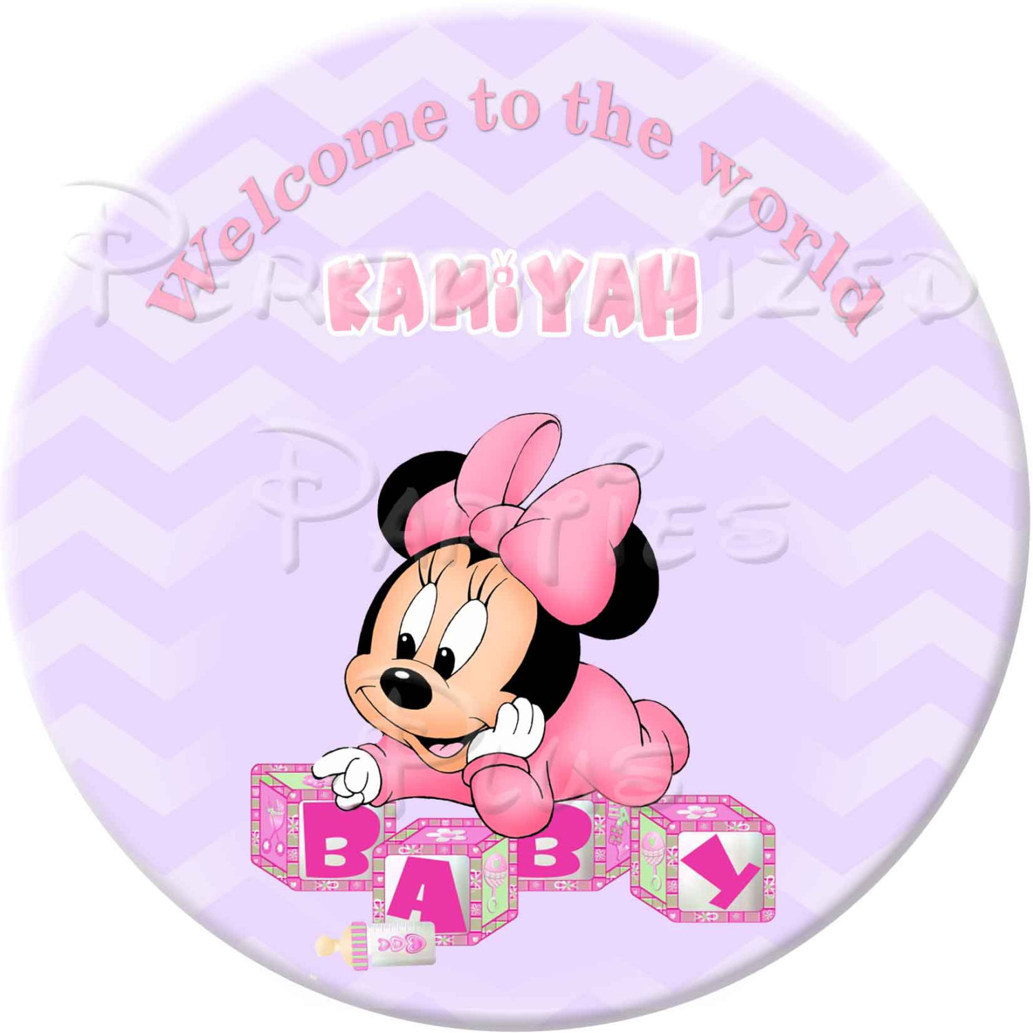 Personalized Minnie Mouse baby shower package: banner, cupcake toppers, water bo
