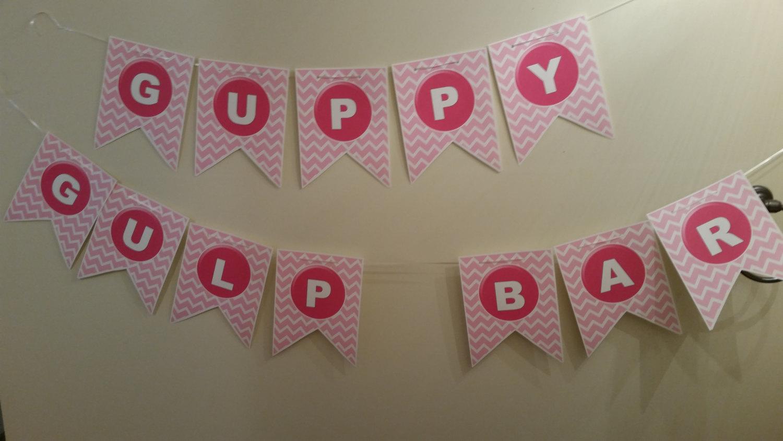 Digital Guppy Gulp Bar banner in pink chevron print