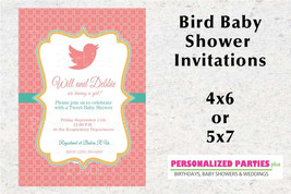 Bird Baby Shower invitation | Coral and mint baby shower invitation - $8.99