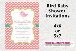 Bird Baby Shower invitation | Girl baby shower invitations | chevron bir... - $8.99