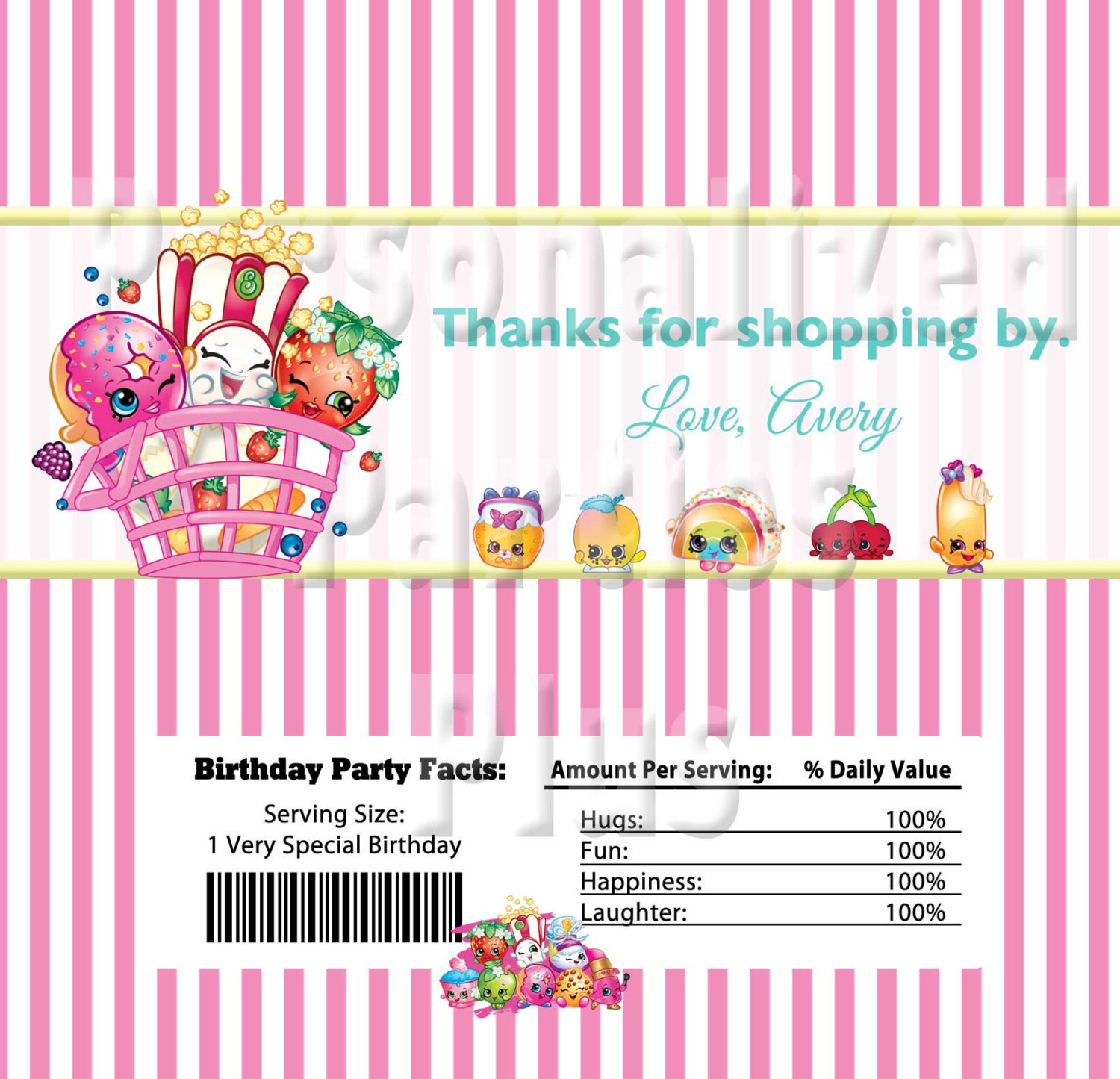 Shopkins Candy Bar Wrappers