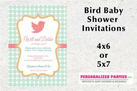 Elegant Bird Baby Shower invitation | Coral and mint baby shower invitation - $8.99