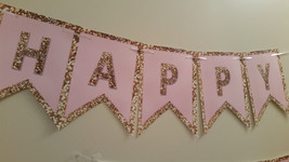 Pink and gold banner   Pink and gold birthday banner   banner - $14.99