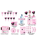 Baby Minnie Mouse baby shower package: banner, cupcake toppers, water bo... - $12.99
