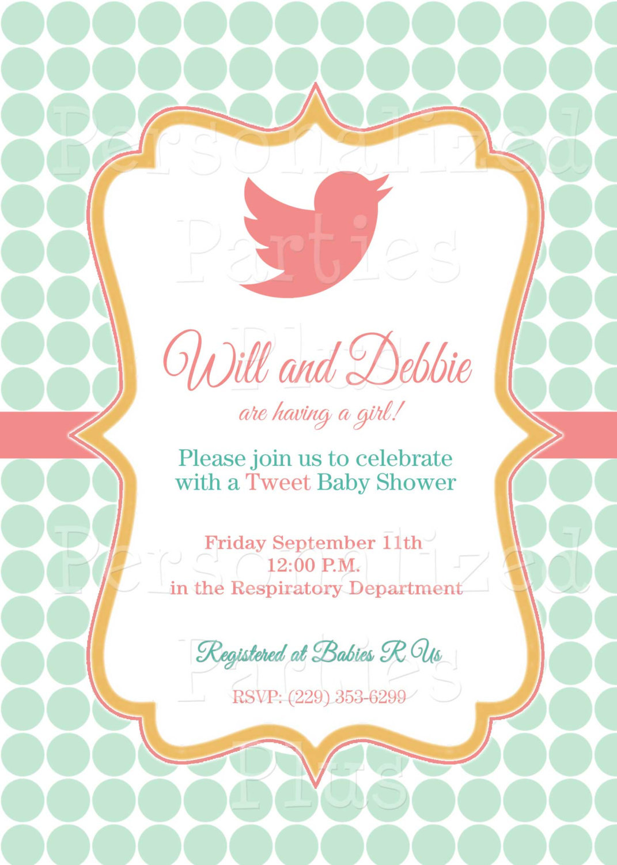 Elegant Bird Baby Shower invitation   Coral and mint baby shower invitation