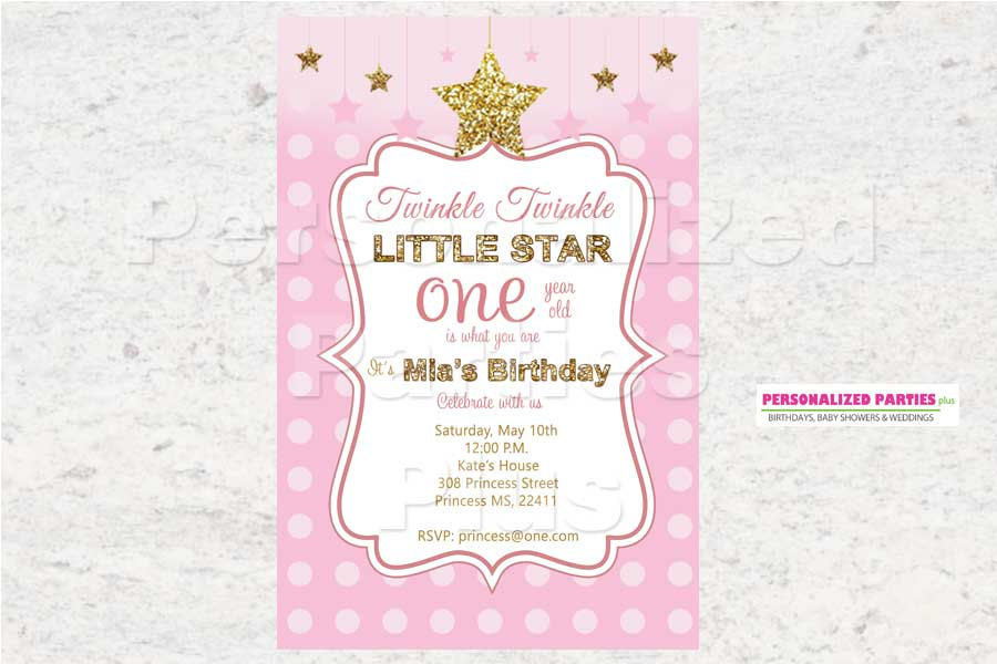 Twinkle twinkle little star birthday Invitations | first birthday invitations