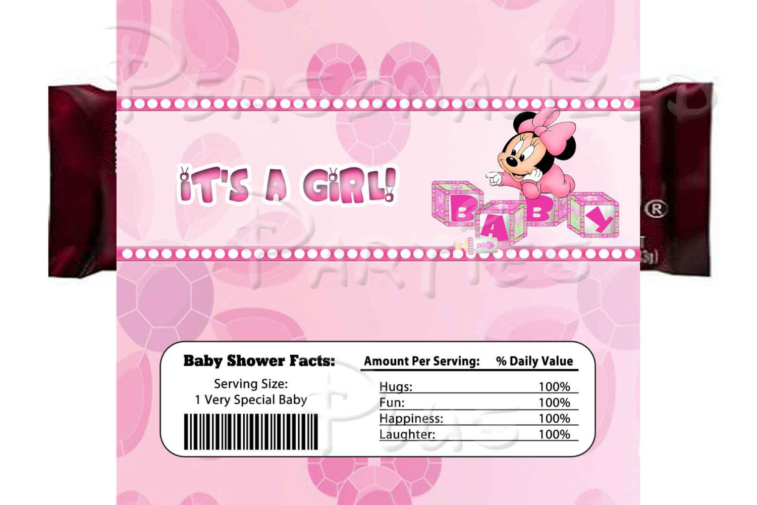 Baby Minnie Mouse baby shower package: banner, cupcake toppers, water bottle lab