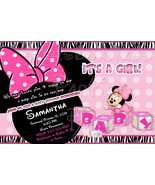 Minnie Mouse Baby Shower Invitation in zebra print - $9.99
