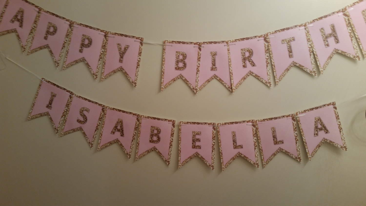 Pink and gold banner | Pink and gold birthday banner | banner
